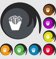 Fry icon sign Symbols on eight colored buttons vector image vector image