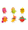 funny exotic fruit characters set pitahaya pear vector image vector image