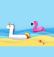 giant inflatable fantasy unisorn and pink flamingo vector image
