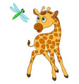 giraffe and dragonfly vector image vector image