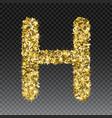 Gold glittering letter h shining golden