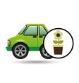 green ecology car flower concept vector image