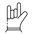 hand rock it sign icon outline style vector image