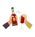 hands with glass of drink bottle toasting vector image vector image