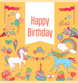 happy birthday card with unicorn strawberry cake vector image vector image
