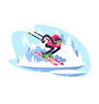 happy man skiing in mountains against blue sky vector image vector image