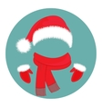 Hat Santa Claus scarf and mittens vector image vector image