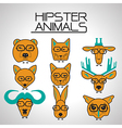 hipster animal icons set vector image vector image