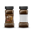 instant coffee glass jar with coffee granules vector image vector image