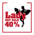 lady day sale 40 shopping frame white background vector image vector image