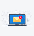 laptop and email notification vector image vector image