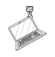 laptop wih crane hook in black and white vector image vector image
