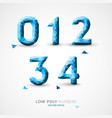 low poly numbers font vector image