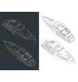 luxury yacht isometric blueprints vector image vector image