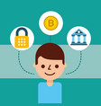man cartoon avatar bank bitcoin cyber security vector image vector image
