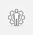 man inside gear concept line icon or design vector image vector image