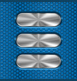 metal oval brushed plates on blue perforated vector image vector image