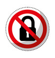 padlock with denied sign vector image vector image