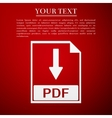 PDF file document flat icon on red background vector image