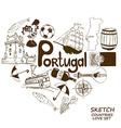 Portuguese symbols in heart shape concept vector image