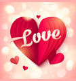 red folded paper heart with pink 3d love sign vector image