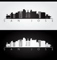 san jose usa skyline and landmarks silhouette vector image vector image