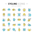 Set Flat Line Icons Cycling vector image vector image