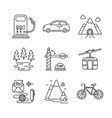 set of travel icons sketch style vector image