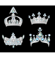 set silver crowns vector image vector image