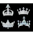 set silver crowns vector image