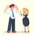 strong happy businessman and businesswoman office vector image vector image