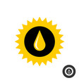 sunflower silhouette with oil drop icon vector image vector image