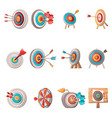 target with arrow icons set cartoon style vector image vector image