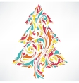 The abstract floral of Christmas tree vector image