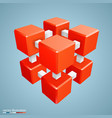 three-dimensional abstract orange cube vector image vector image