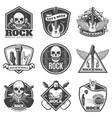 vintage monochrome rock music emblems set vector image