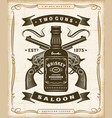 vintage western saloon label graphics vector image vector image