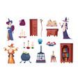 wizard tools cartoon magician casts spells vector image