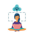 woman sitting with laptop and cloud computing vector image vector image