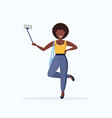woman using selfie stick african american girl vector image vector image