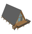 wooden house on white background vector image vector image