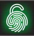 fingerprint with lock shape vector image