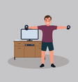 a male character training at home man lifting vector image