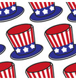 american flag hat usa symbol seamless pattern vector image