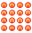 arch types icons set red vector image vector image