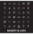 bakery editable line icons set on black vector image