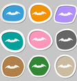 bat icon symbols Multicolored paper stickers vector image