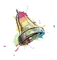 Bell ring watercolor sketch vector image