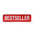 bestseller red three-dimensional square button vector image vector image