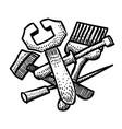cartoon image of tools icon repair service vector image vector image